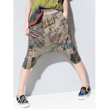 Chic Elastic Waist Pocket Design Letter Print Women's Harem Pants