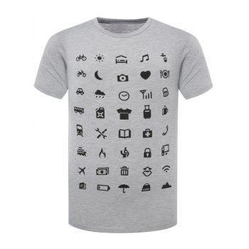 Funny Icon Pattern Printing Men's Round Neck Short Sleeves T-Shirt