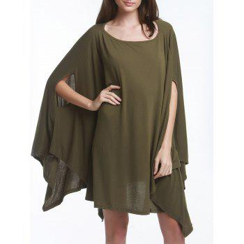 Charming Solid Color  Batwing Sleeve Asymmetric Loose Top For Women