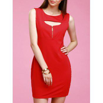 Trendy Round Neck Cut Out Zipper Design Skinny Women's Dress