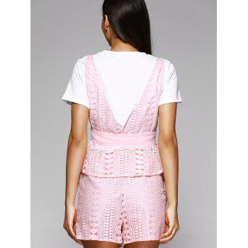 Trendy White T-Shirt + Hollow Out Waistcoat + Wide Leg Shorts Women's Three-Piece Suit - PINK L