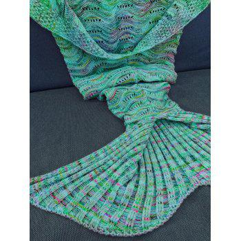 Handmade Knitted Mermaid Tail Design Blanket -  GREEN