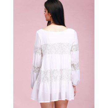 Lace Insert Mini Casual Swing Dress With Sleeves - WHITE ONE SIZE(FIT SIZE XS TO M)