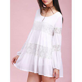 Lace Insert Mini Casual Swing Dress With Sleeves