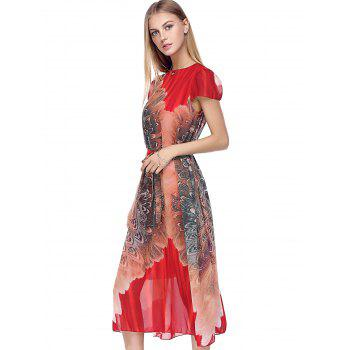 Puff Sleeve Tie Belt Tea Length Flowy Dress - RED ONE SIZE(FIT SIZE XS TO M)