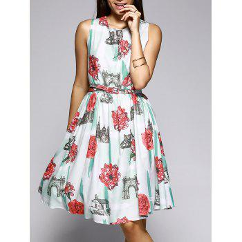 Sleeveless Castle and Flower Pattern Dress