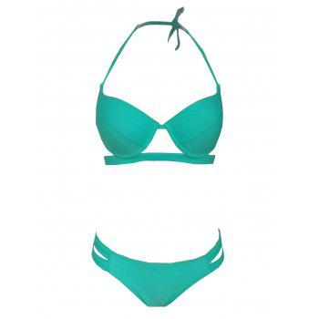 Chic Plus Size Solid Color Cut Out Women's Bikini Set