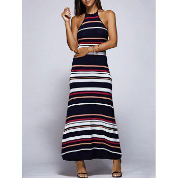 Stylish Halter Backless Striped Maxi Dress For Women
