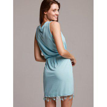 Chic Sleeveless Plunging Neck Asymmetrical Women's Dress - BLUE BLUE