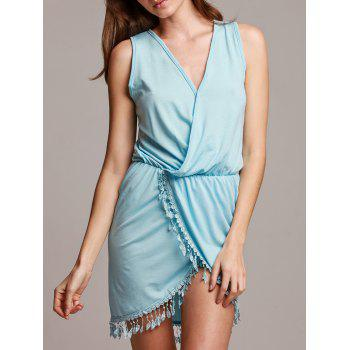 Chic Sleeveless Plunging Neck Asymmetrical Women's Dress - BLUE L