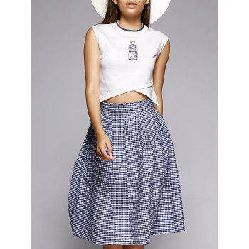 Overlap Crop Top and Plaid Skirt