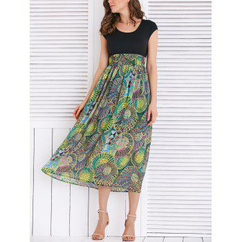 High Waist Geometrical Print Dress