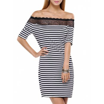 Striped Lace Splicing Off The Shoulder Short Dress