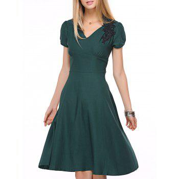 Vintage High-Waist Embroidery Zippered Dress