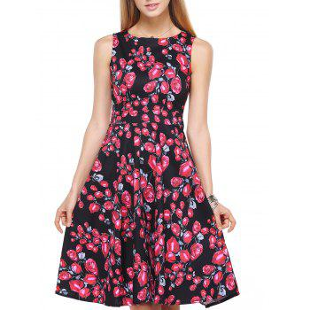 Rose Pattern Back Strappy Midi Dress