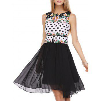 False Two Pieces Polka Dot Floral Pattern Tie Belt Dress