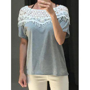 Buy Crochet Cape Collar Batwing Sleeve Lace Cut Shirt T-Shirt GRAY