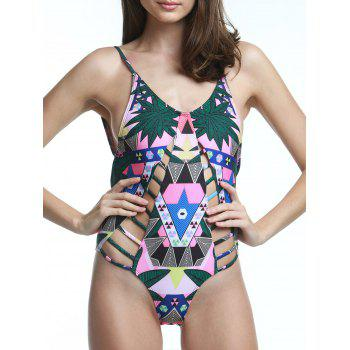 Attractive Cut Out Backless Print Swimwear For Women