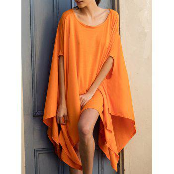 Charming Pure Color Batwing Sleeve Asymmetric Tops For Women