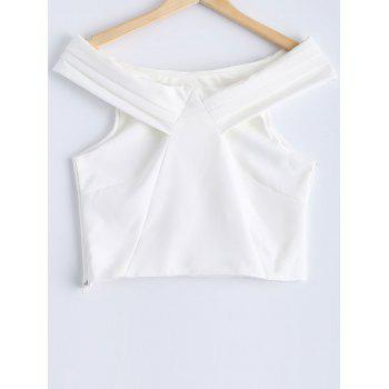 Fashionable Women's Solid Color Off-The-Shoulder Crop Top