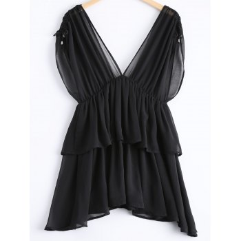 Casual Women's Plunging Neck Multi-layered Knot Cap Sleeves Chiffon Blouse