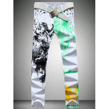 Men's White Color Printed Straight Leg Jeans