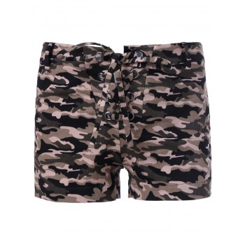 Trendy Camouflage Print Shorts For Women