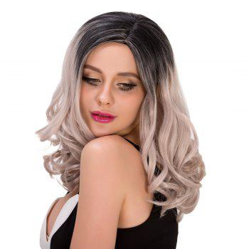 Faddish Women\'s Medium Curly Side Parting Mixed Color Synthetic Hair Wig