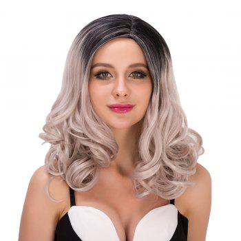 Faddish Women\'s Medium Curly Side Parting Mixed Color Synthetic Hair Wig - COLORMIX