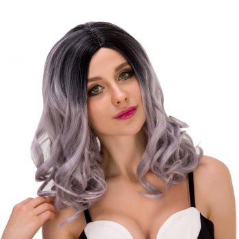 Stunning Women's Medium Curly Side Parting Mixed Color Synthetic Hair Wig