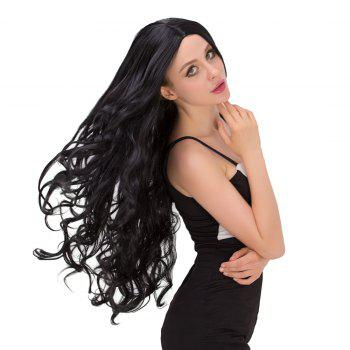 Fashion Women's Long Wavy Middle Part Black Synthetic Hair Wig -  BLACK