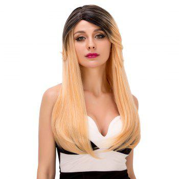 Faddish Women\\\'s Long Tail Adduction Mixed Color Side Parting Synthetic Hair Wig - COLORMIX COLORMIX