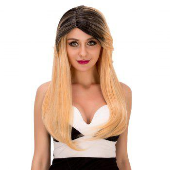 Faddish Women\'s Long Tail Adduction Mixed Color Side Parting Synthetic Hair Wig - COLORMIX