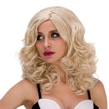 Stunning Women's Medium Curly Side Parting Light Blonde Synthetic Hair Wig - LIGHT GOLD
