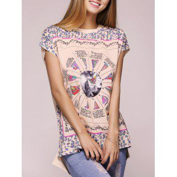 Casual Short Sleeve Round Neck Printed T-Shirt For Women