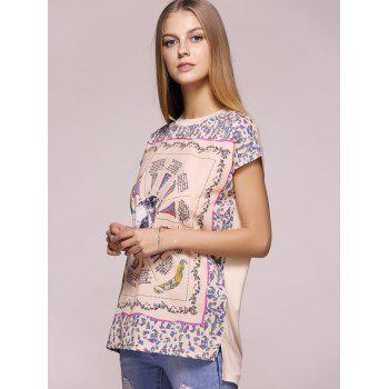 Casual Short Sleeve Round Neck Printed T-Shirt For Women - APRICOT APRICOT