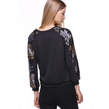 Stylish Long Sleeve Round Neck Sequined Sweatshirt For Women - BLACK 3XL