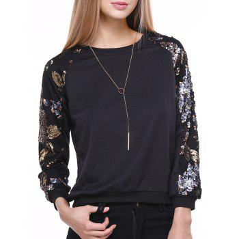 Stylish Long Sleeve Round Neck Sequined Sweatshirt For Women - BLACK BLACK