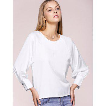Bowknot Embellished Long Sleeve Chiffon Blouse - WHITE L