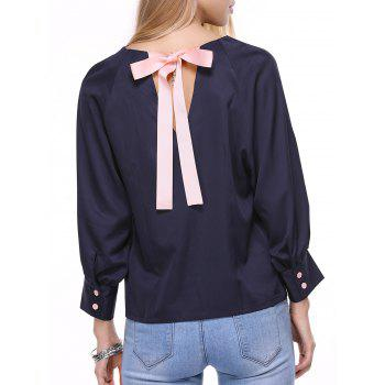 Bowknot Embellished Long Sleeve Chiffon Blouse - CADETBLUE L