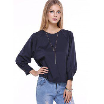 Bowknot Embellished Long Sleeve Chiffon Blouse - L L