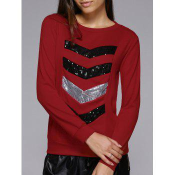 Long Sleeve Sequins Spliced Sweatshirt - WINE RED M