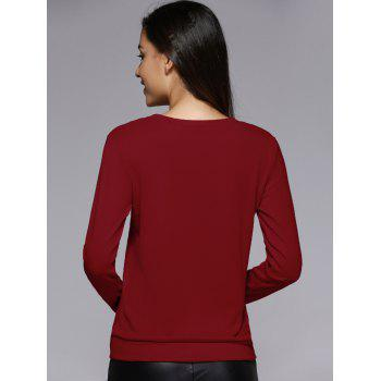Long Sleeve Sequins Spliced Sweatshirt - M M