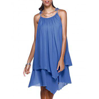 Stylish Women's Spaghetti Strap Solid Color Asymmetrical Dress