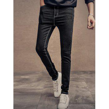 Plus Size Zipper Fly Slimming Narrow Feet Classic Men's Jeans