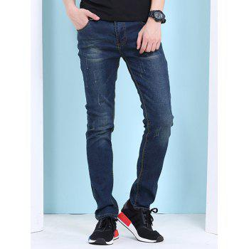Men's Cat's Whisker Print Zipper Fly Jeans