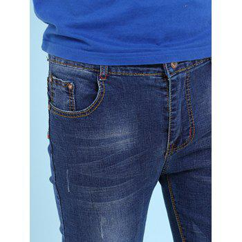 Men's Cat's Whisker Printed Zipper Fly Jeans - DEEP BLUE 29