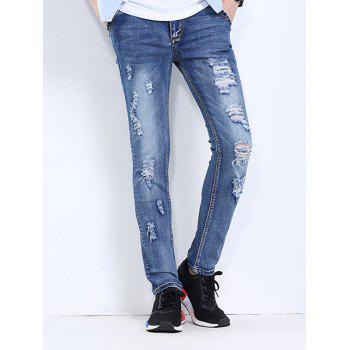 Men's Fashionable Hole Design Straight Leg Jeans