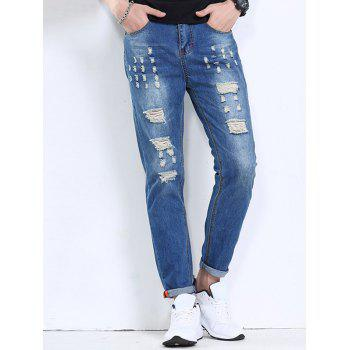 Men's Hot Sale Hole Design Zipper Fly Jeans