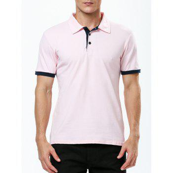 Refreshing Turn-down Collar Purfled Fitted Men's Short Sleeves Polo T-Shirt